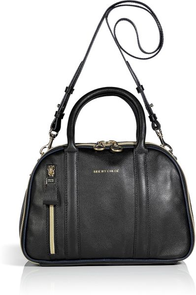 See By Chloé Black Leather Bowling Bag in Black