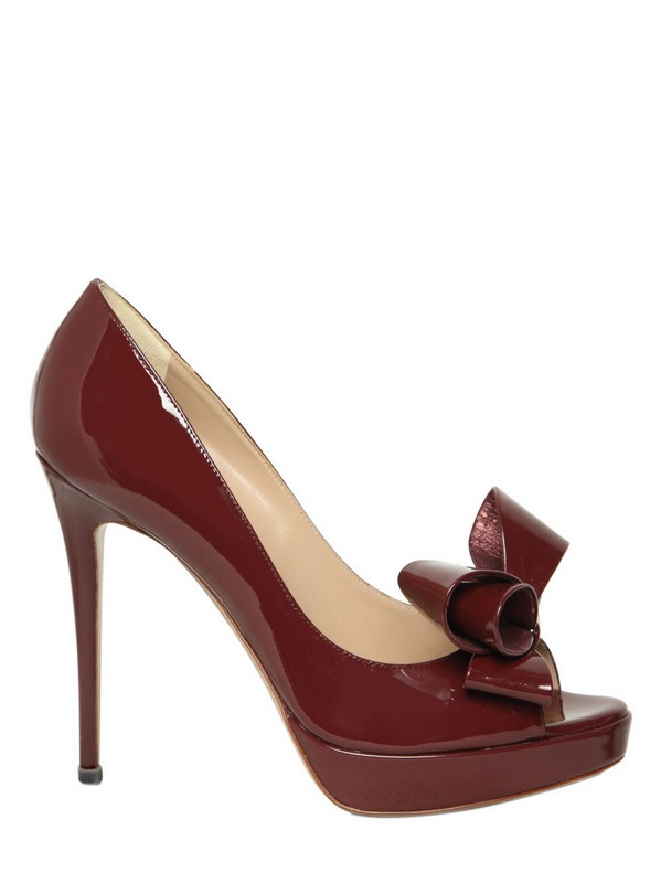 Valentino 120mm Patent Bow Open Toe Pumps In Brown Lyst