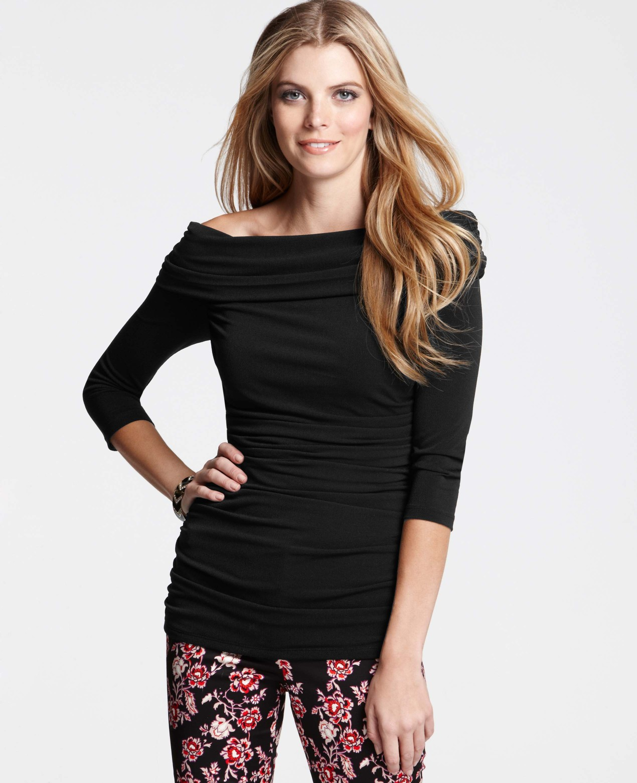bbd0cc56dbe02 Lyst - Ann Taylor Ruched Off The Shoulder Top in Black