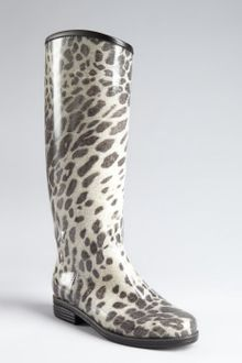 Dav Charcoal and Cream Animal Printed Rubber Rain Boots - Lyst