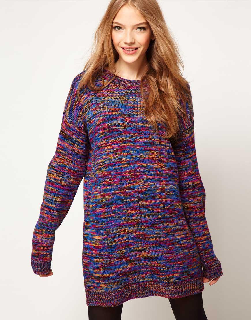 1e41298153 ASOS Collection Jumper Dress in Twist Yarn in Purple - Lyst