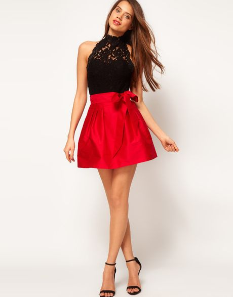 Asos Collection Skater Skirt with Bow in Red