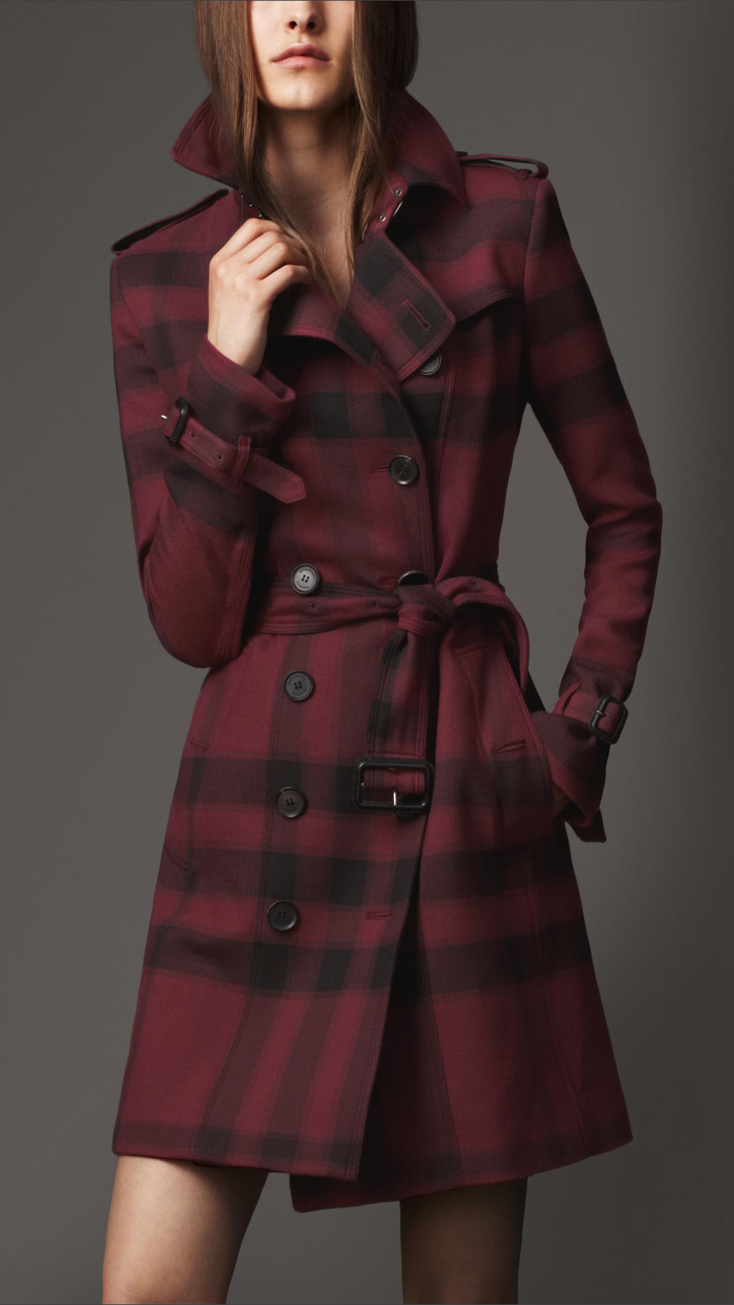Burberry Midlength Check Trench Coat In Purple Lyst