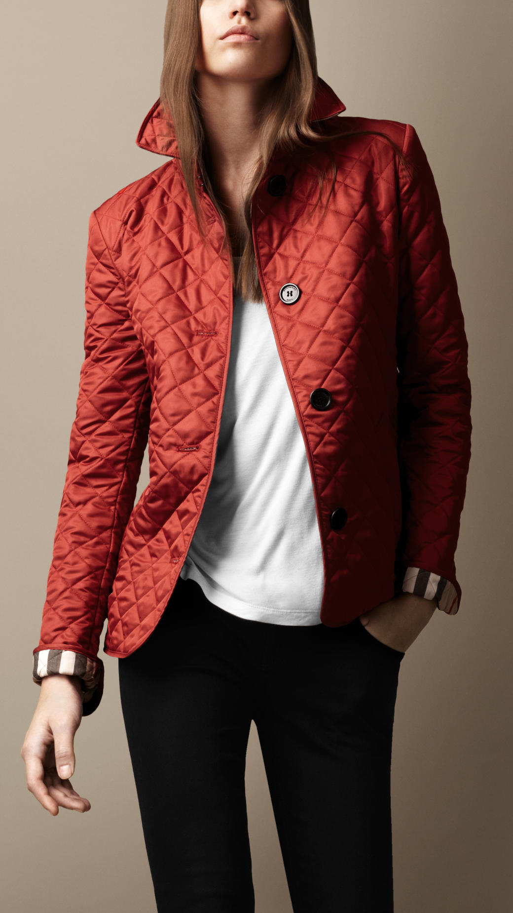 Burberry brit Cinched Waist Quilted Jacket in Red | Lyst : red burberry quilted jacket - Adamdwight.com