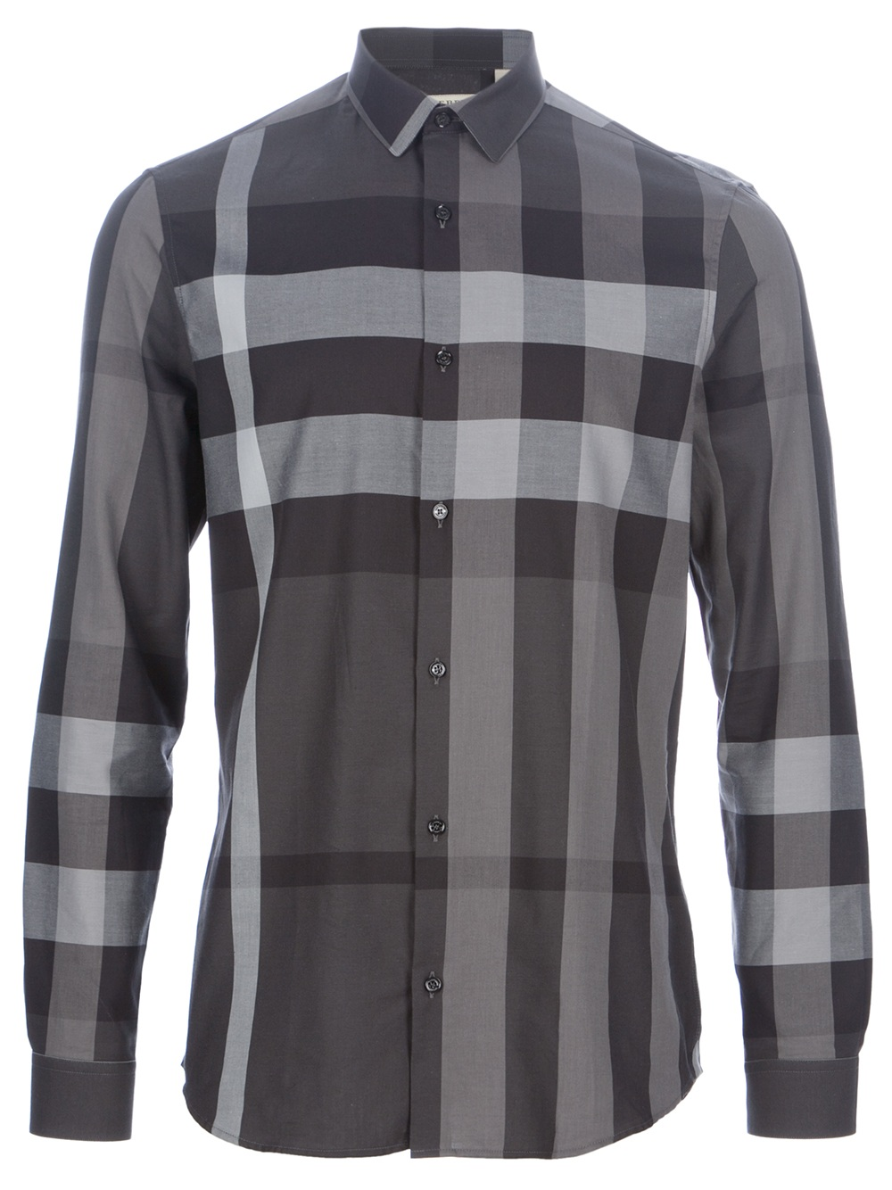 Burberry pembury check shirt in gray for men lyst for Where are burberry shirts made