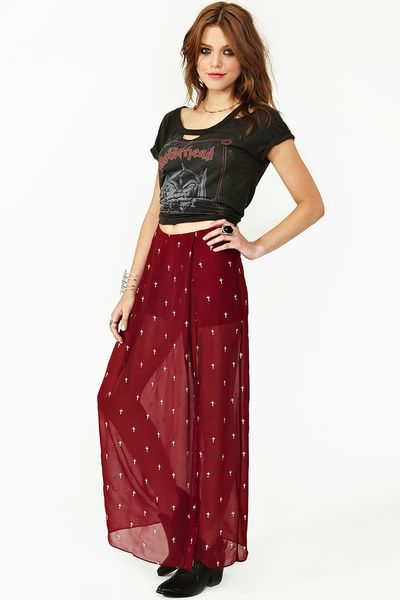 Nasty Gal Cross Over Maxi Skirt In Transparent Wine Lyst