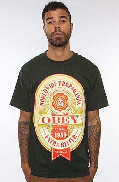 Obey The Extra Bitter Basic Tee  in Green for Men