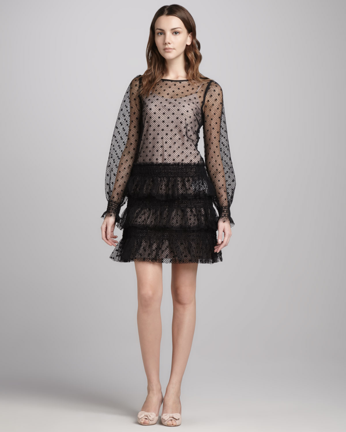 Red Valentino Spring 2016: Red Valentino Womens Swiss Dot Tulle Dress In Black