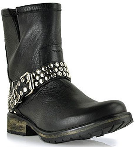 steve madden frankiee black leather studded motorcycle