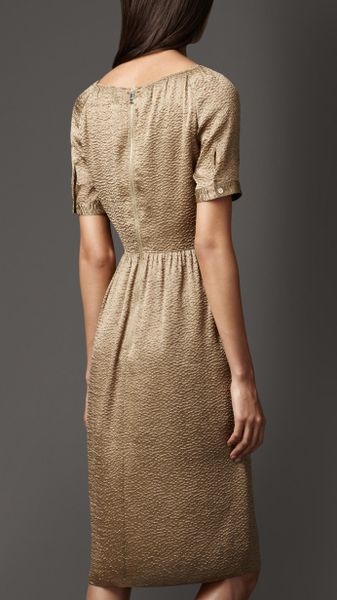 Burberry Crinkle Lam 233 Dress In Gold Vintage Gold Lyst