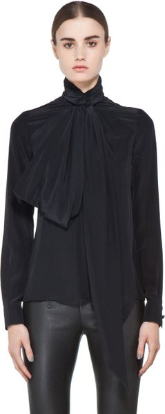 Givenchy Bow Blouse in Black - Lyst