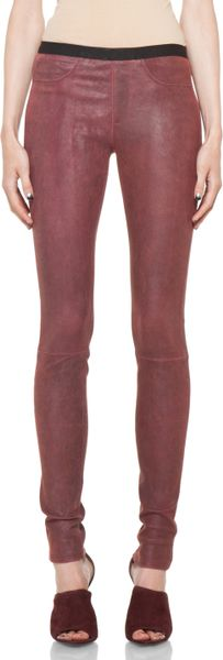 Helmut Lang Patina Stretch Cheyenne Leather Legging in Fever in Red (fever)