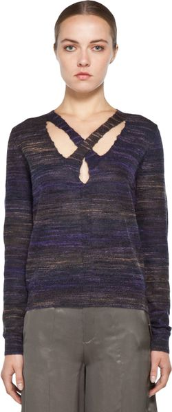 Theyskens' Theory Yenoir Keno Sweater in Purple in Gray (mauve/ purple noir)