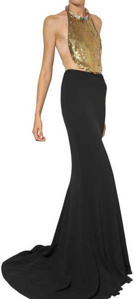 Alexander Mcqueen Jewelled Leaf Viscose Crepe Long Dress in Black - Lyst