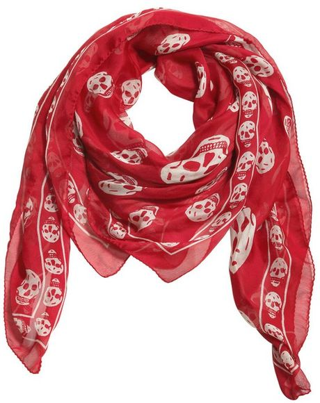 Buy Mcqueen Alexander skull scarf red pictures trends