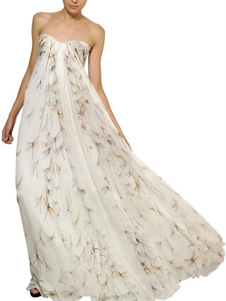 Alexander Mcqueen Dragon Fly Print Silk Chiffon Long Dress in Beige (white)