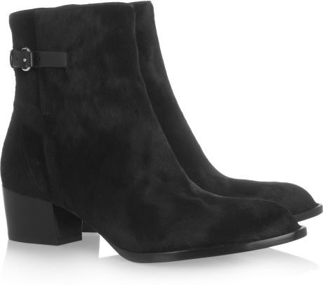 Alexander Wang Calf Hair Ankle Boots in Black
