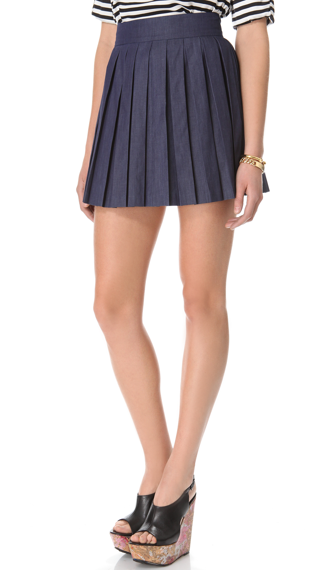 chambray box pleat skirt in blue navy lyst