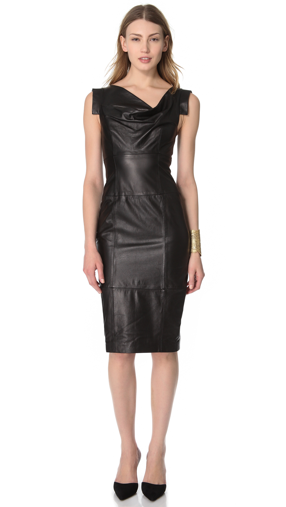 Lyst - Black Halo Leather Jackie O Dress In Black