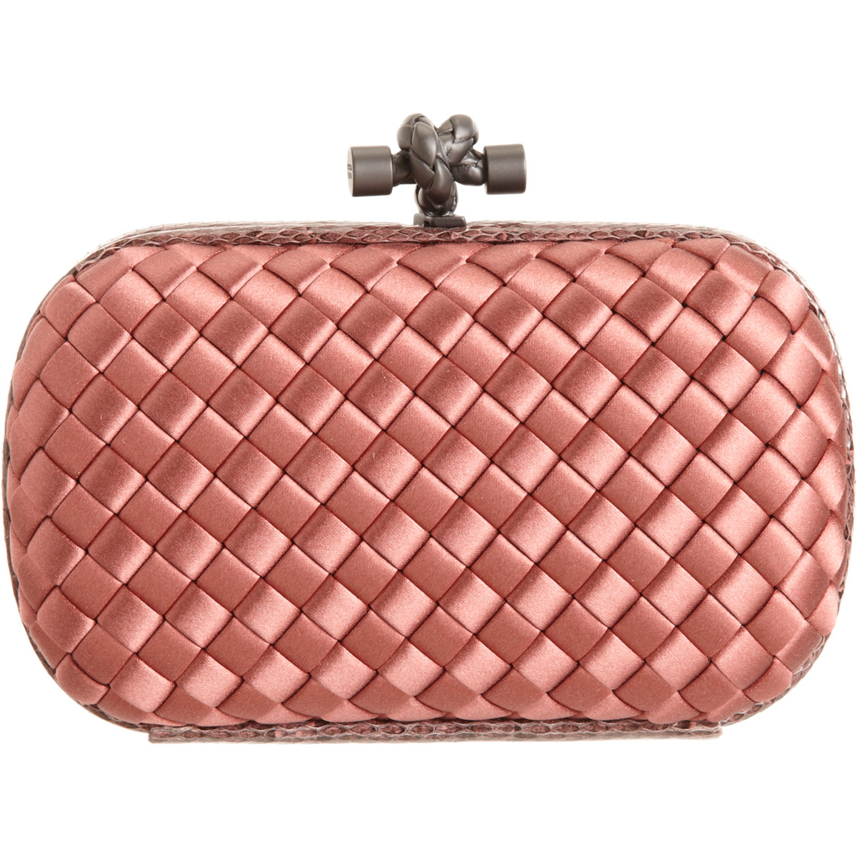 bottega veneta knot intrecciato satinsnakeskin clutch in pink lyst. Black Bedroom Furniture Sets. Home Design Ideas