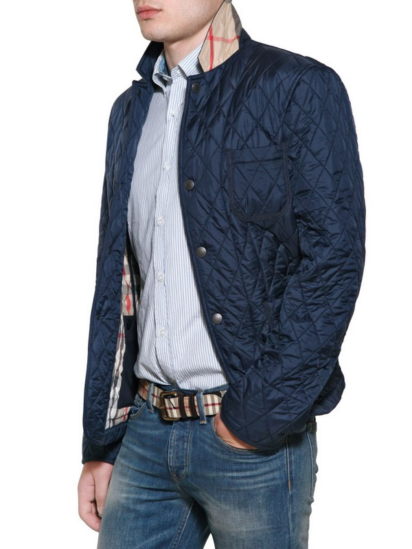 Lyst Burberry Brit Quilted Nylon Jacket In Blue For Men