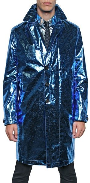 Burberry Prorsum Metallic Paper Silk Oversize Trench Coat in Blue for Men