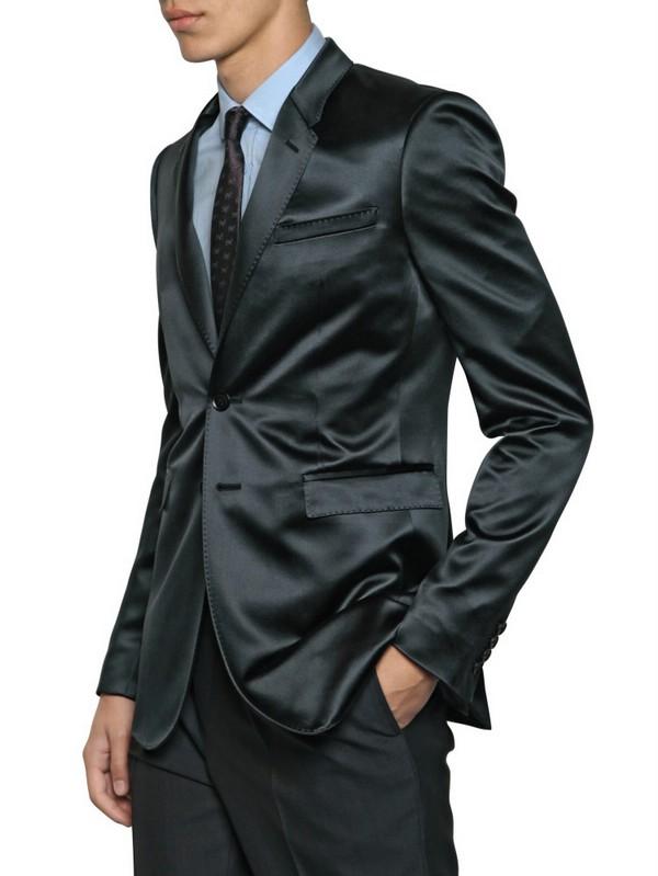 Burberry prorsum Viscose Silk Satin Two Button Blazer in Gray for ...