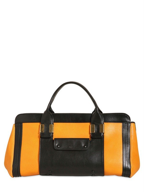 Chlo¨¦ Medium Alice Shiny Natural Leather Bag in Yellow (black) | Lyst