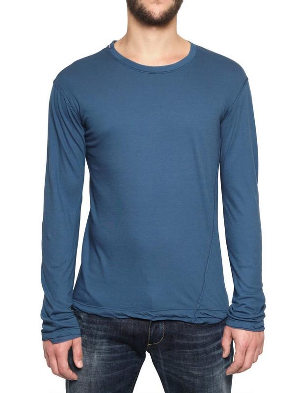 aeda3a215ea Lyst - Dolce   Gabbana Long Sleeved Cotton Silk Jersey T-shirt in ...