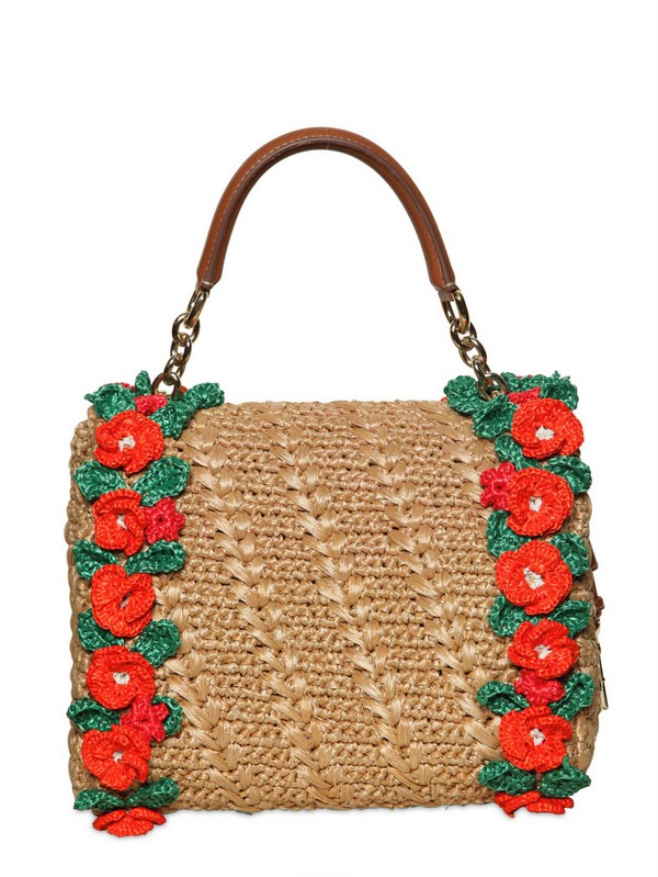 Lyst Dolce Amp Gabbana Crochet Raffia Dolce Bag Top Handle