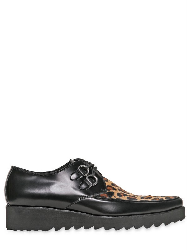 dsquared 178 40mm leather ponyskin rockabilly shoes in black