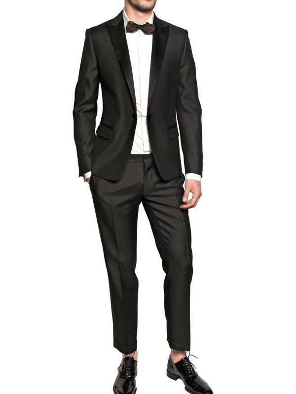 Dsquared² Silk Wool and Satin Tuxedo Suit in Black for Men | Lyst