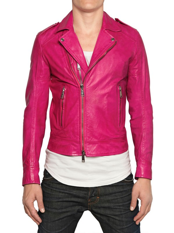 Lyst Dsquared 178 Chiodo Leather Jacket In Pink For Men
