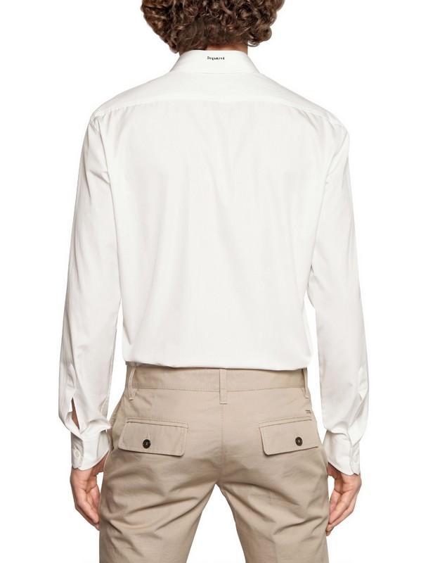 Dsquared 178 Neon Orange Trim Cotton Poplin Shirt In White