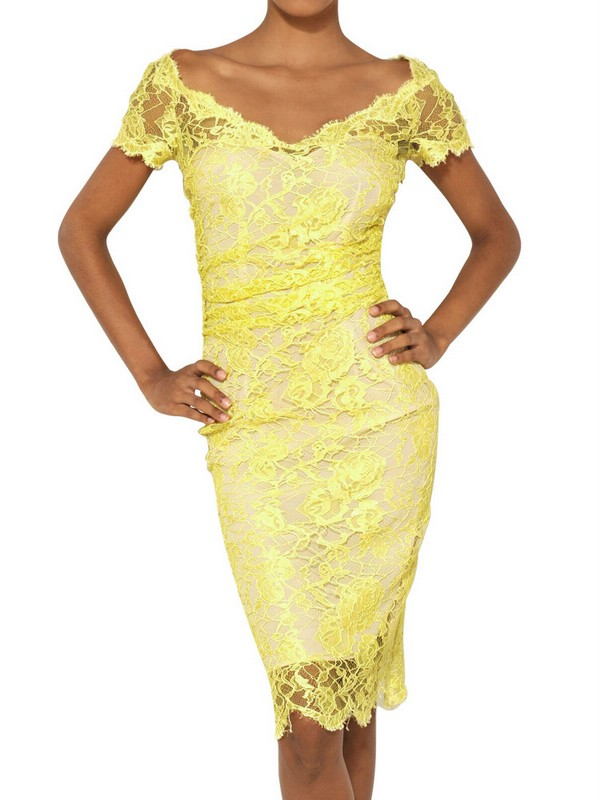 lyst emilio pucci viscose lace dress in yellow. Black Bedroom Furniture Sets. Home Design Ideas