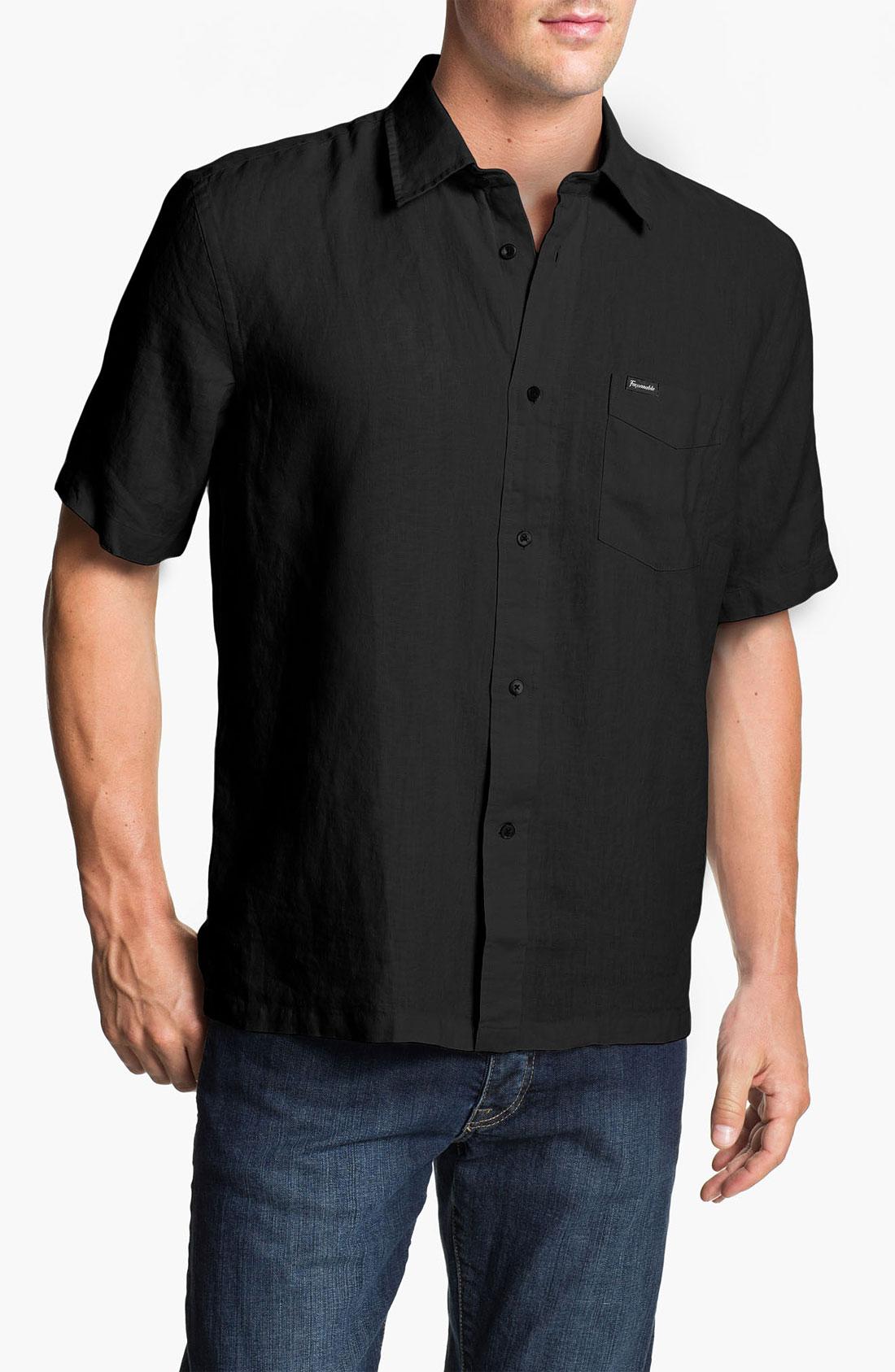 Façonnable Short Sleeve Linen Sport Shirt in Black for Men ...