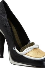 Fendi Lizardstamped Loafer Platform Pump