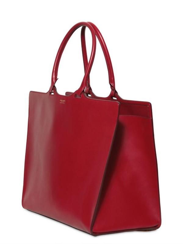 Giorgio Armani Leather Tote Bag In Red Lyst