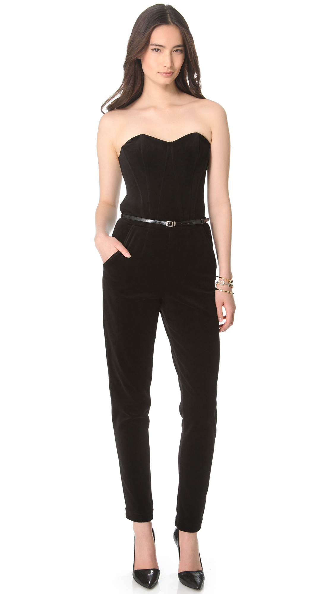 Lyst - Juicy Couture Bustier Velour Strapless Jumpsuit in ...