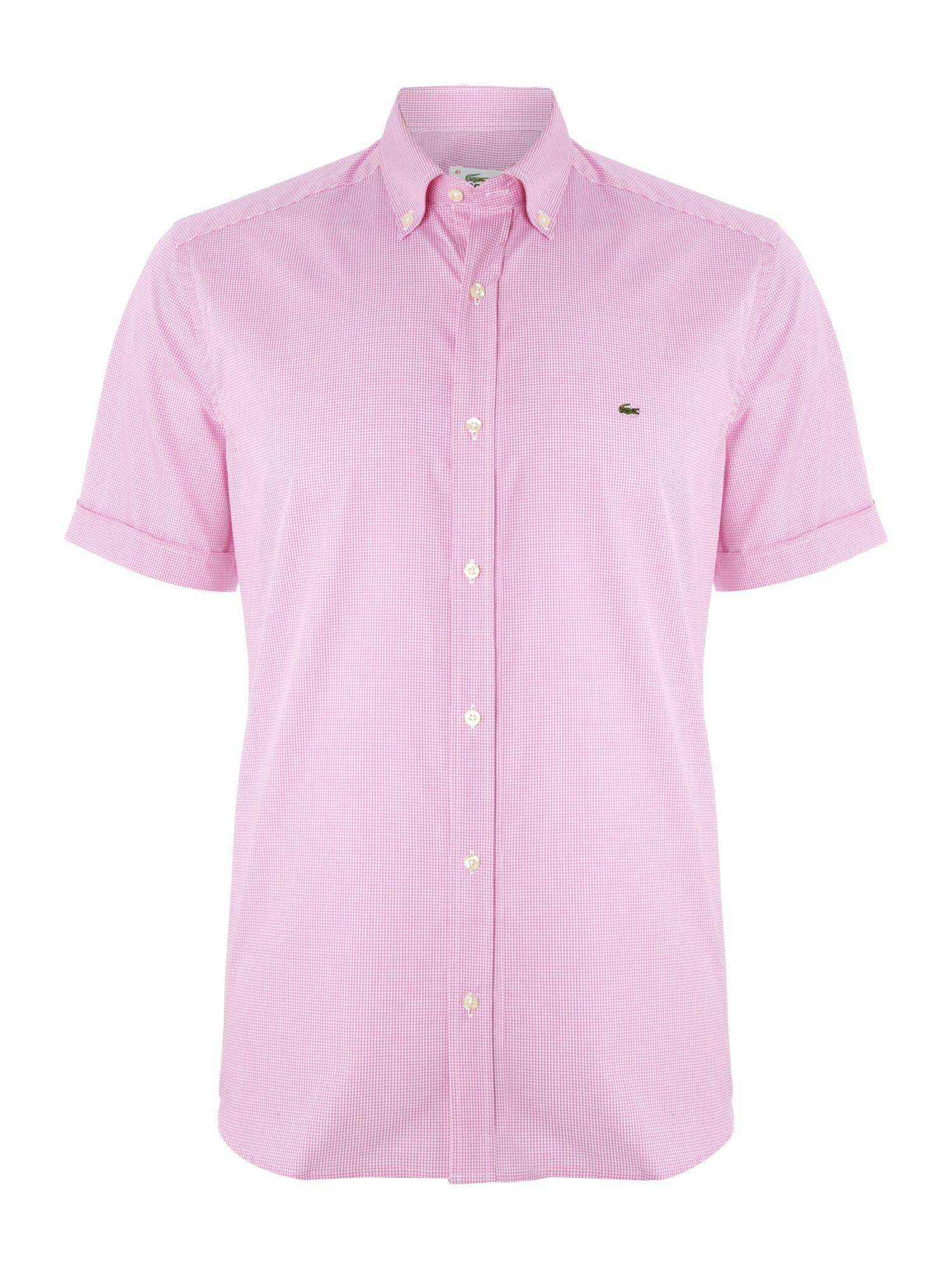 Lacoste Short Sleeved Mini Gingham Shirt For Men Lyst