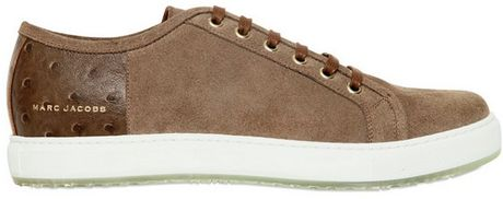 Marc Jacobs Suede Leather Print Sneakers in Brown for Men (dove brown)