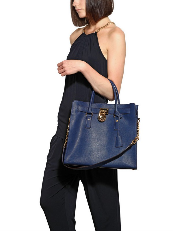 a7130fe7af48 MICHAEL Michael Kors Large Hamilton Saffiano Leather Bag in Blue - Lyst