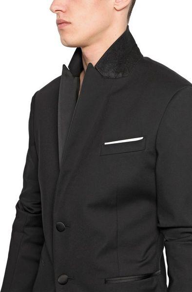 Neil barrett stretch cotton nylon tuxedo jacket in black for Neil barrett tuxedo shirt