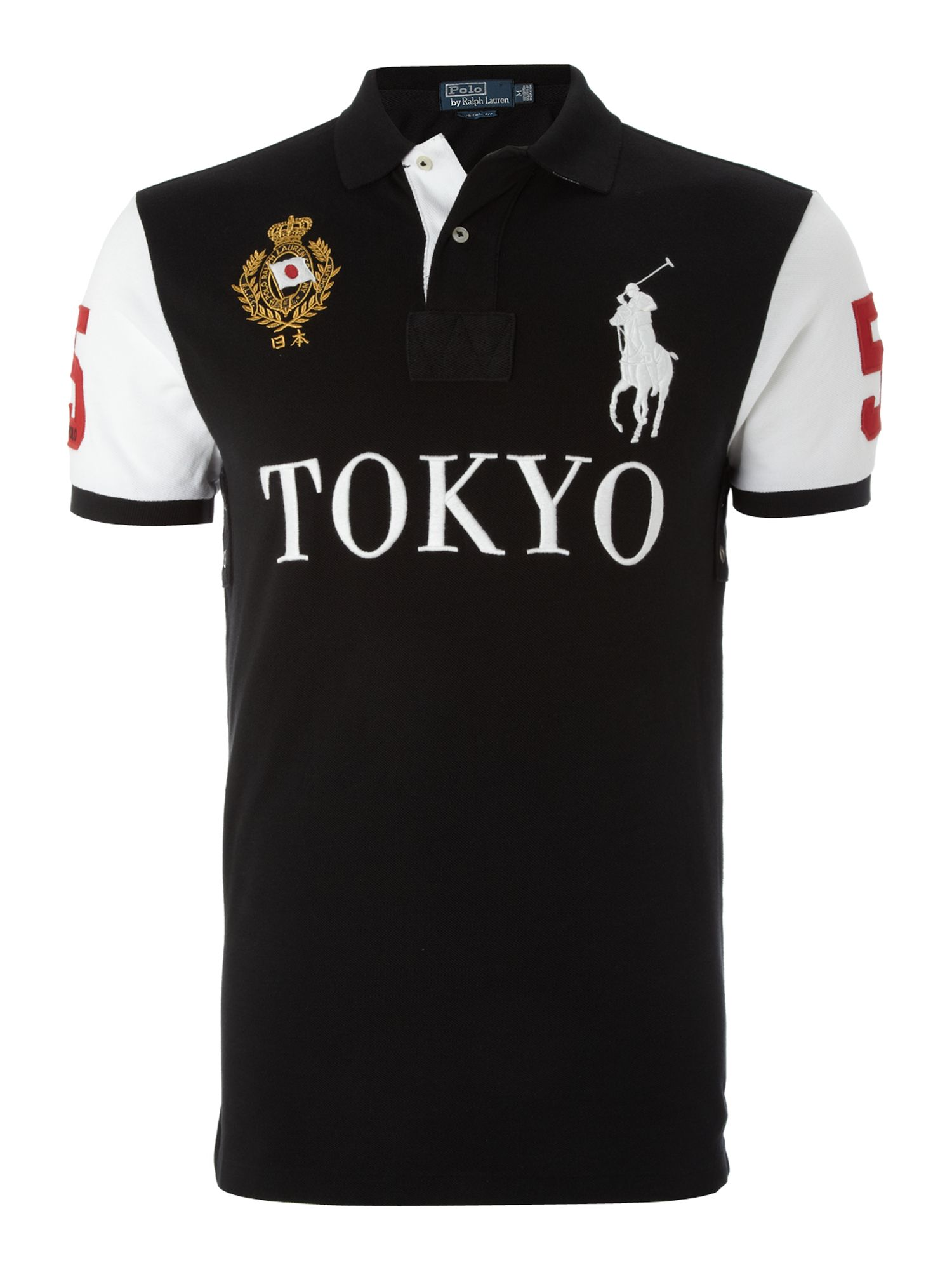 Polo ralph lauren tokyo custom fitted polo shirt for men for Black fitted polo shirt