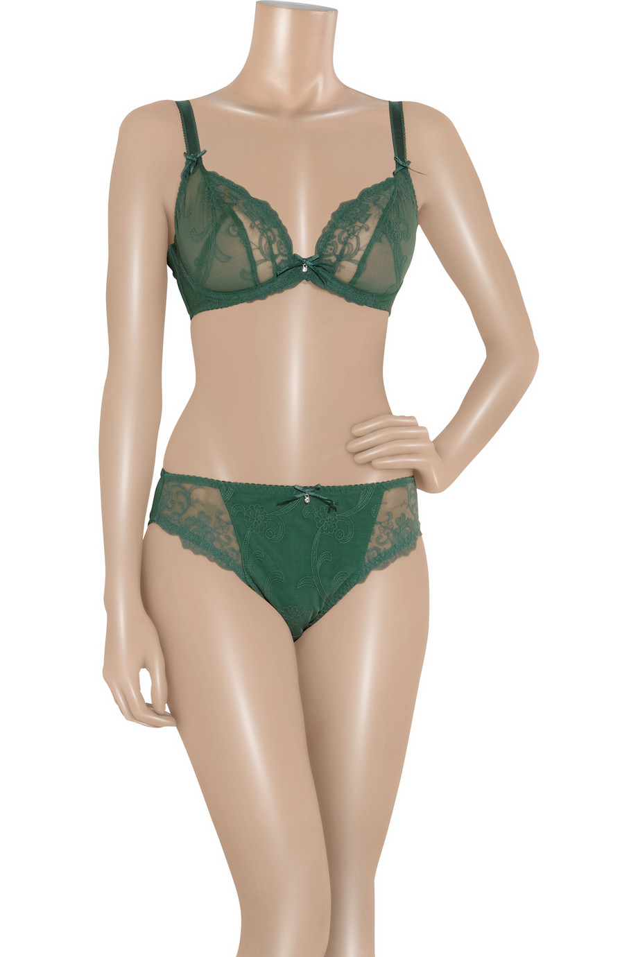 c97457926b Lyst - Rigby   Peller Embroidered Lace Underwired Bra in Green