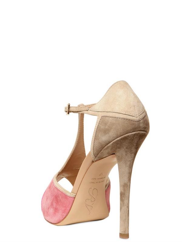 Roger vivier Prismick Suede Sandals in Pink