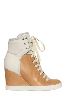 See By Chloé Nubuk Two Tone Sneaker Wedges - Lyst