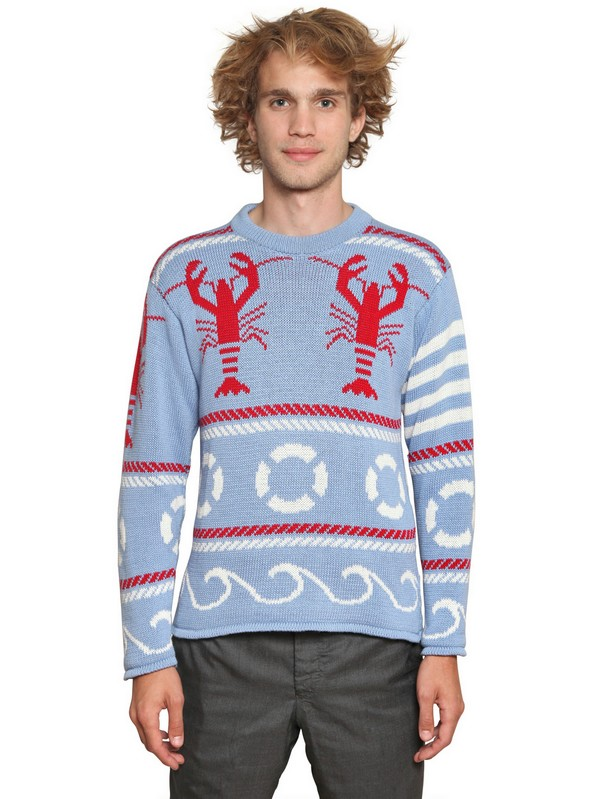 Thom browne Fair Isle Lobster Crew Neck in Blue for Men | Lyst