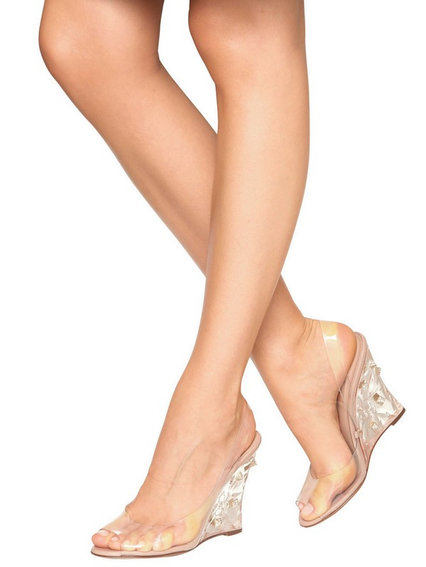 Lyst Valentino 100mm Naked Rockstud Pvc Wedges In Natural