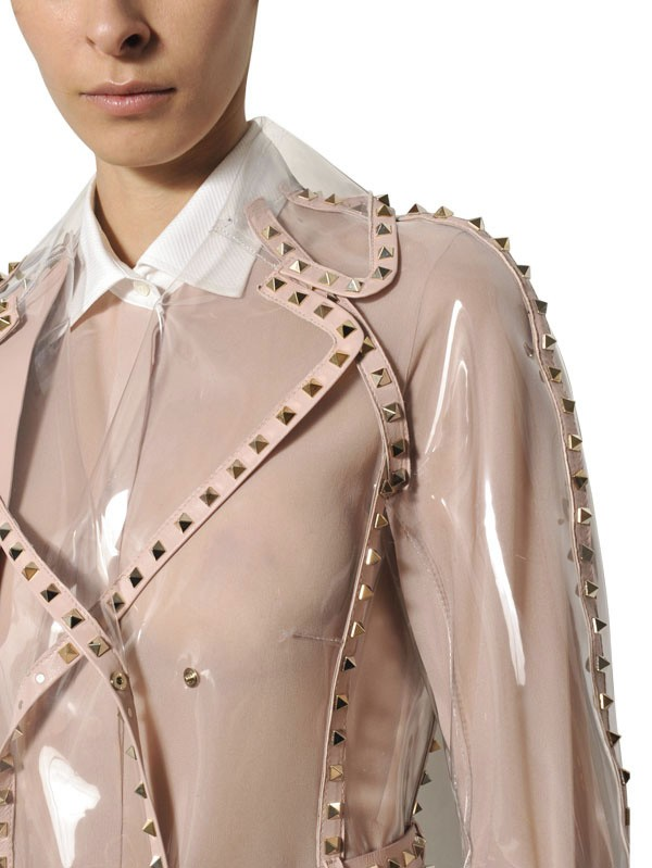 Lyst Valentino Studded Leather Trim Pvc Trench Coat